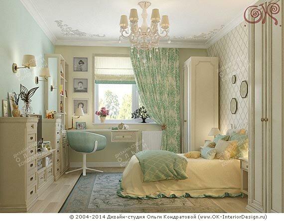 Дизайн желто-зеленой спальни в стиле прованс