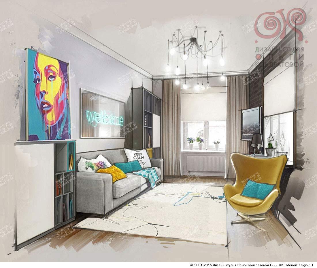 Интерьер гостевой комнаты в стиле поп-арт