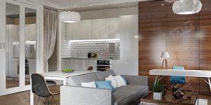 Современный интерьер кухни-гостиной