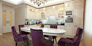 Фото готового интерьера кухни-столовой в квартире
