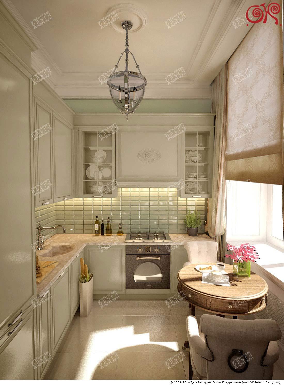 Дизайн светло-зеленой кухни в стиле прованс