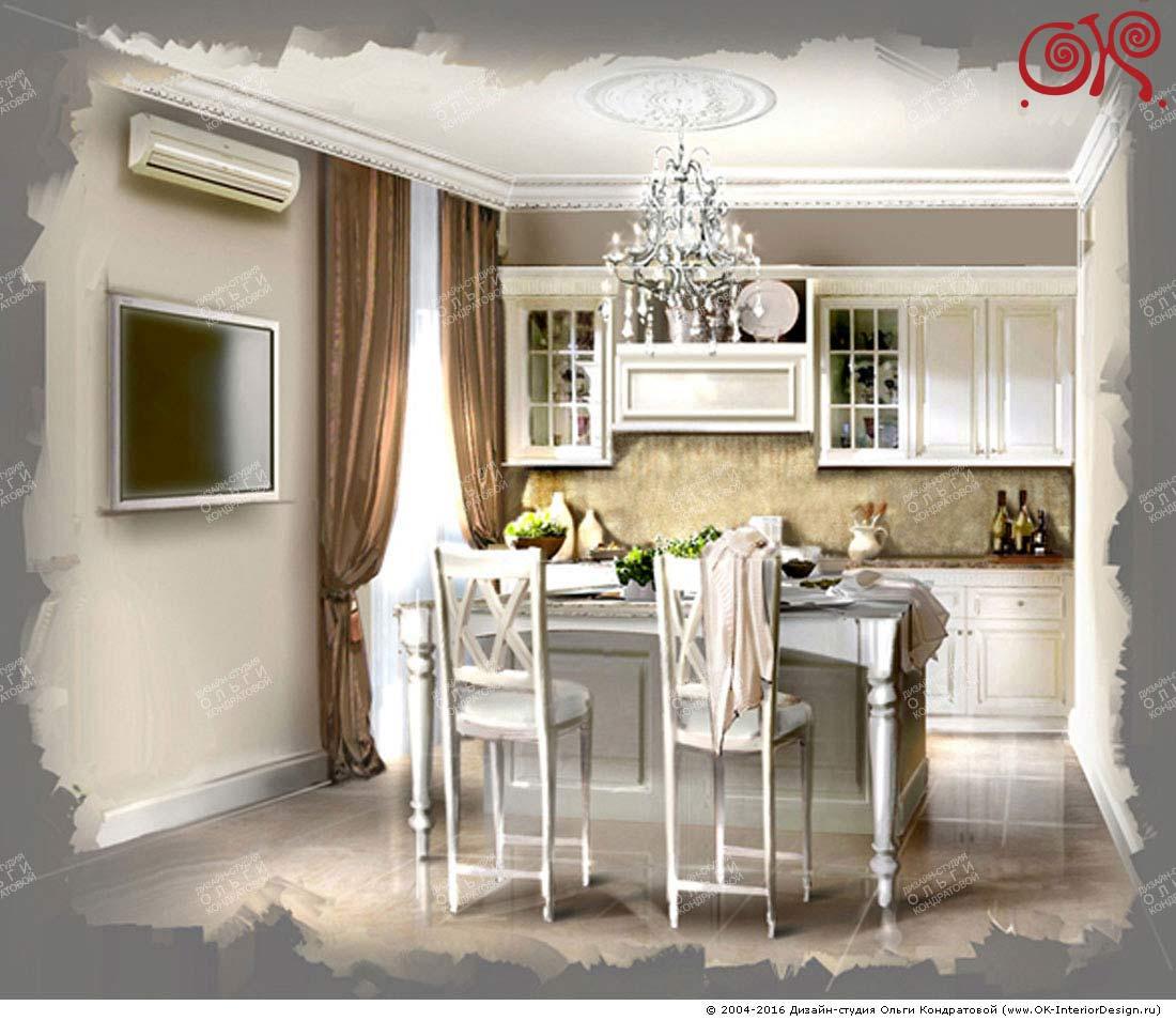 Дизайн кухни в стиле легкой классики