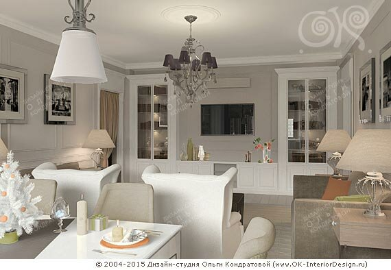 Интерьер светлой кухни-гостиной