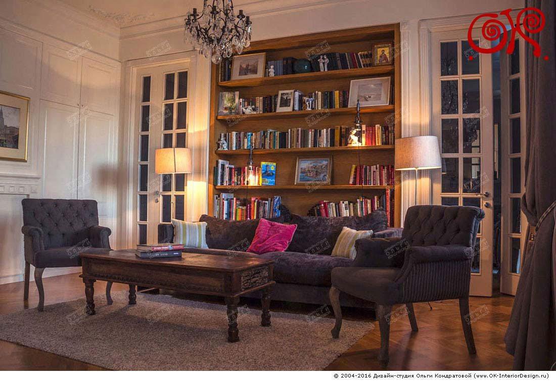 Фото интерьера гостиной в квартире на Котельнической набережной