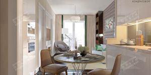 Дизайн кухни-гостиной в стиле 60-х