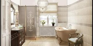 Дизайн ванной с мотивами ретро