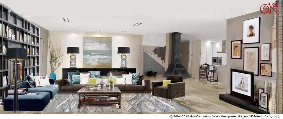 Современная идея дизайна гостиной в доме. Фото 2015