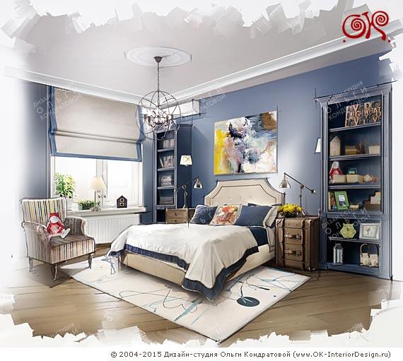 Дизайн синей спальни