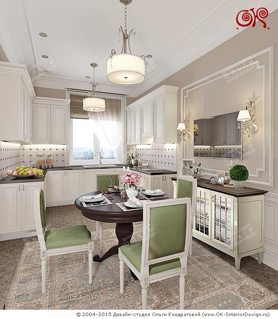 Дизайн кухни-столовой  стиле неоклассика. Проект 2015 года