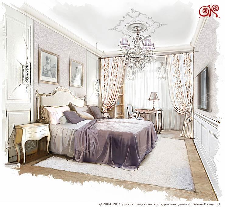 Рисунок интерьера спальни