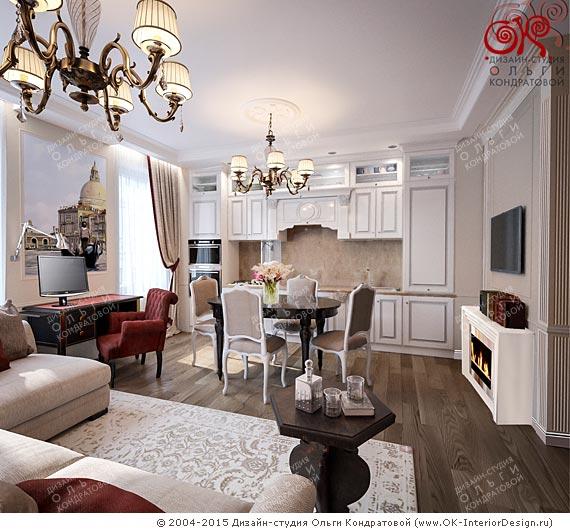 Дизайн кухни-гостиной с камином. Новинка 2015 года