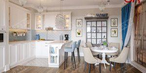 Дизайн кухни-столовой в стиле прованс