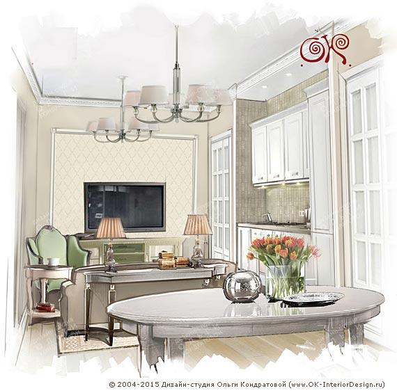 Рисунок кухни-гостиной