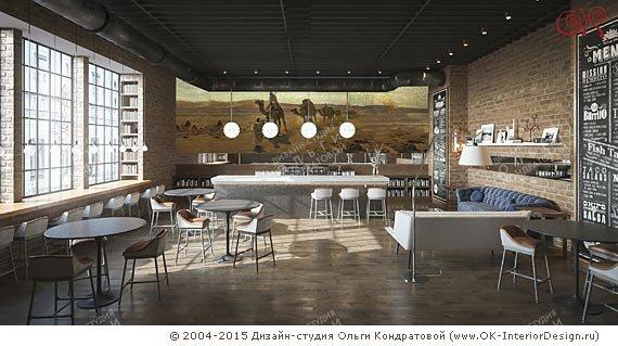 Дизайн кофейни в стиле лофт. Фото 2015