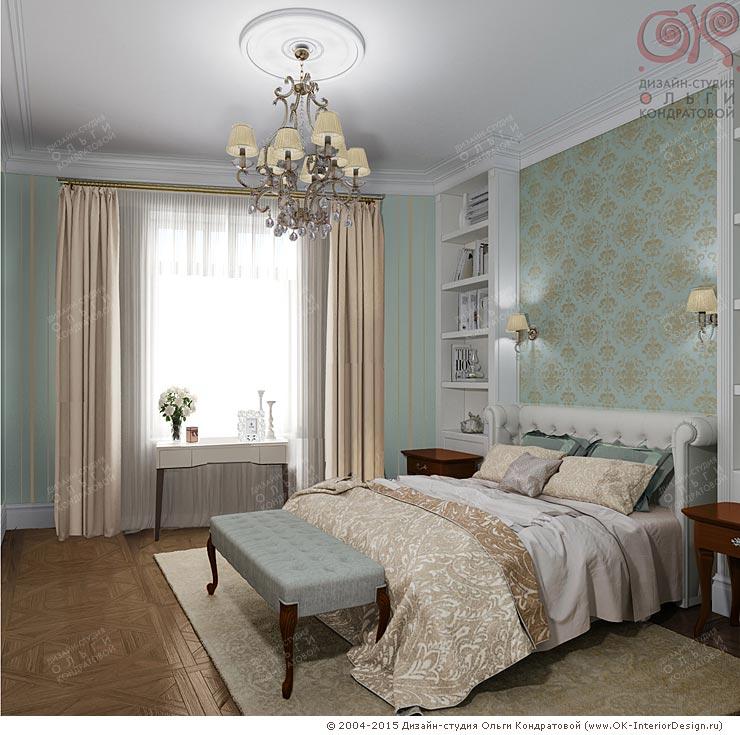 Дизайн интерьера бирюзовой спальни. Фото 2015