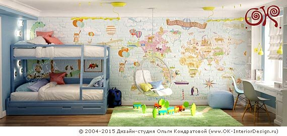 Дизайн современной детской комнаты для двух мальчиков