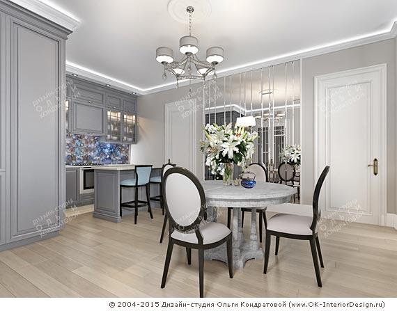 Дизайн гостиной с кухней. Фото интерьеров