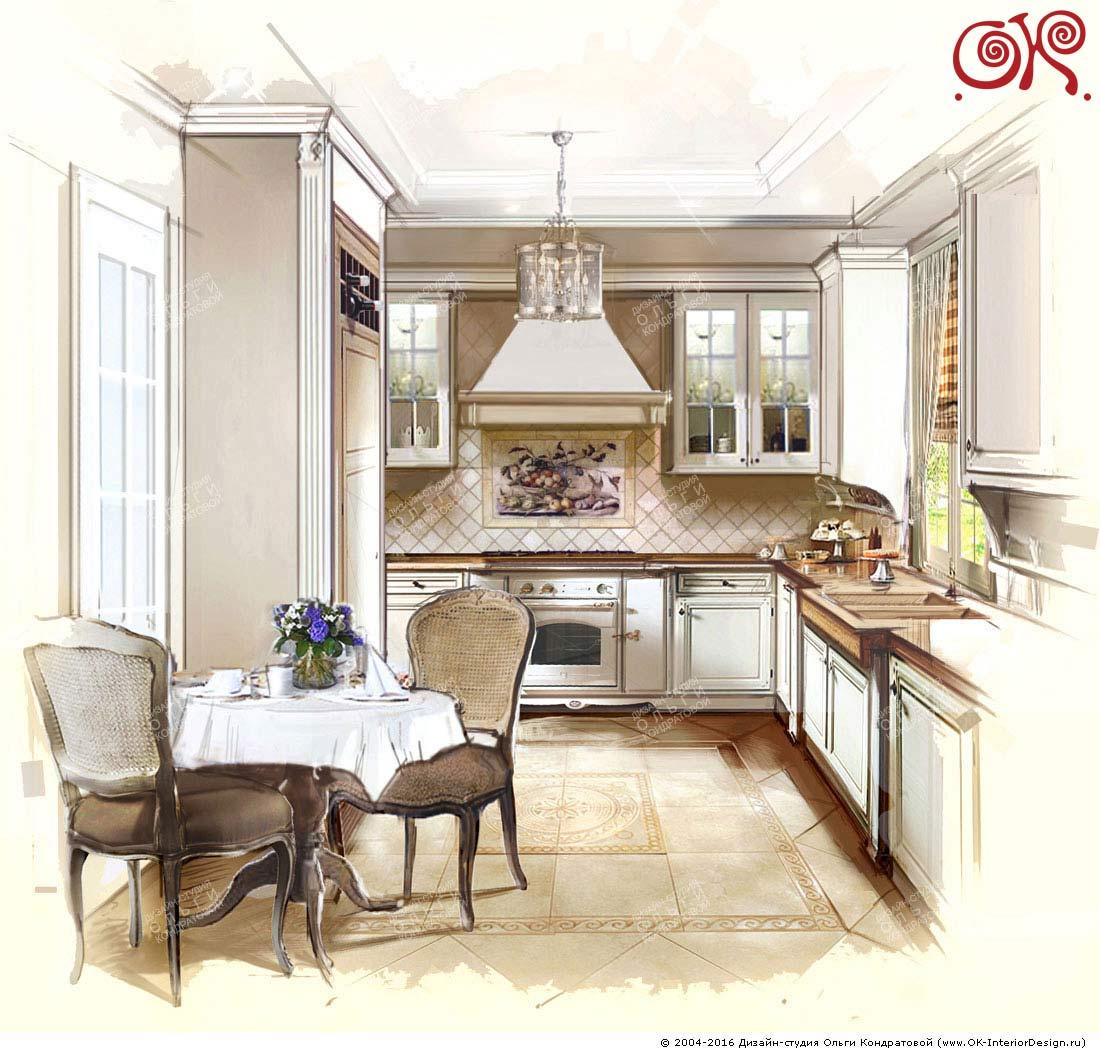 Дизайн кухни в стиле прованс в частном доме