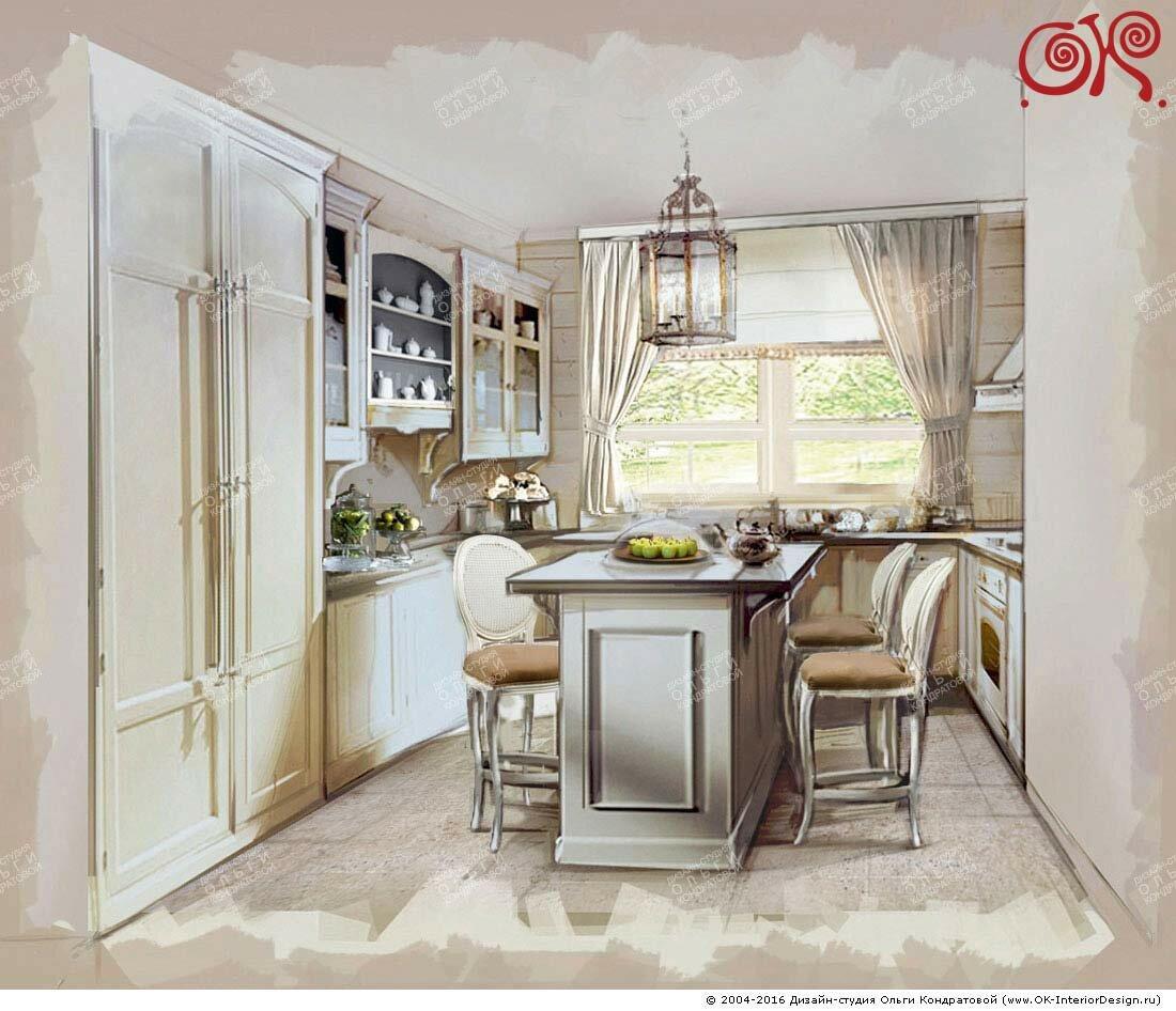 Дизайн кухни в стиле прованс на даче