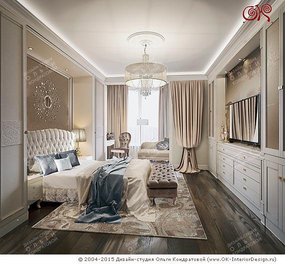 Фото интерьера спальни в бежевых тонах
