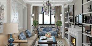 Дизайн гостиной в стиле арт-деко. Фото