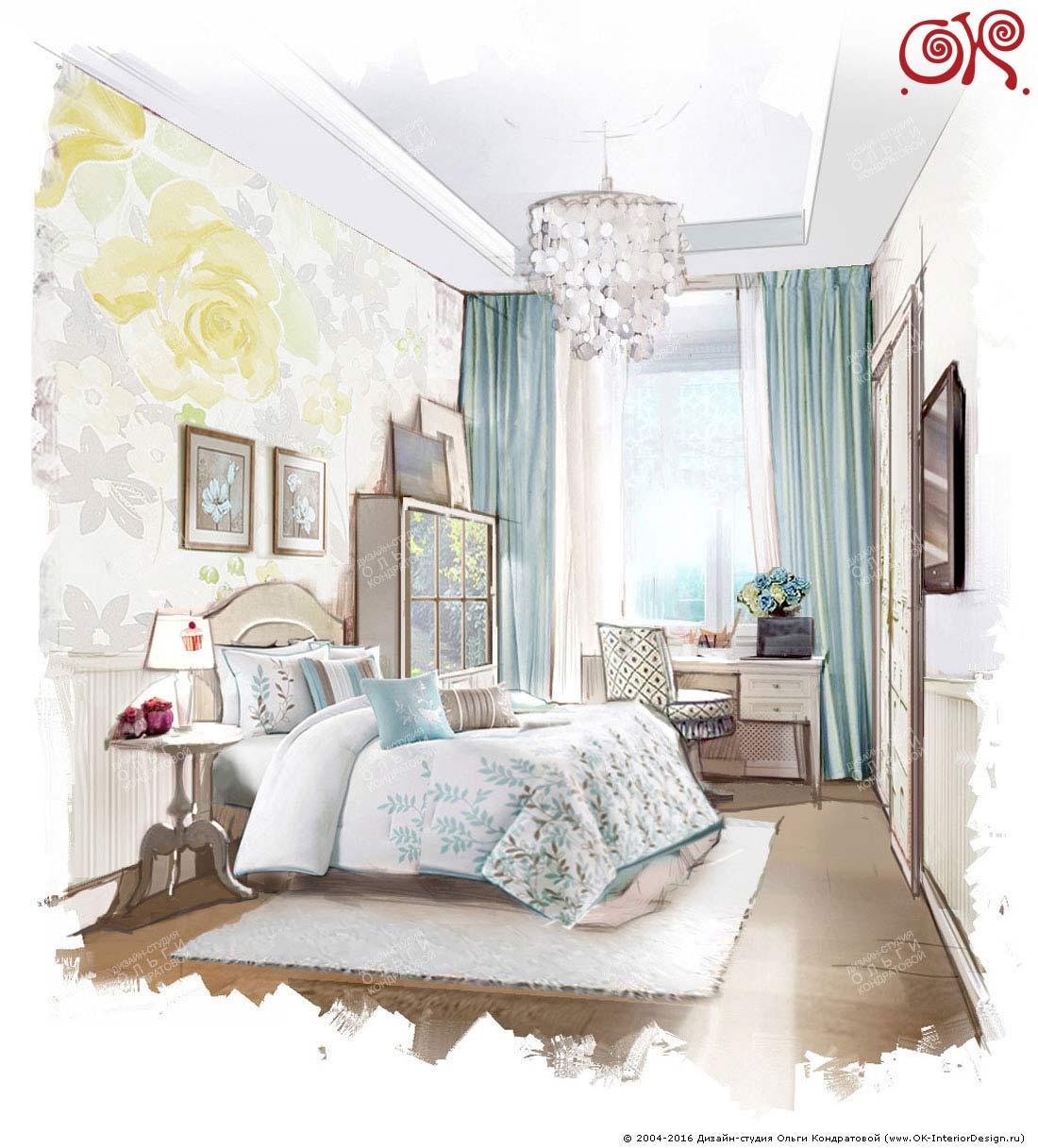 Дизайн бирюзовой спальни: фото 2015