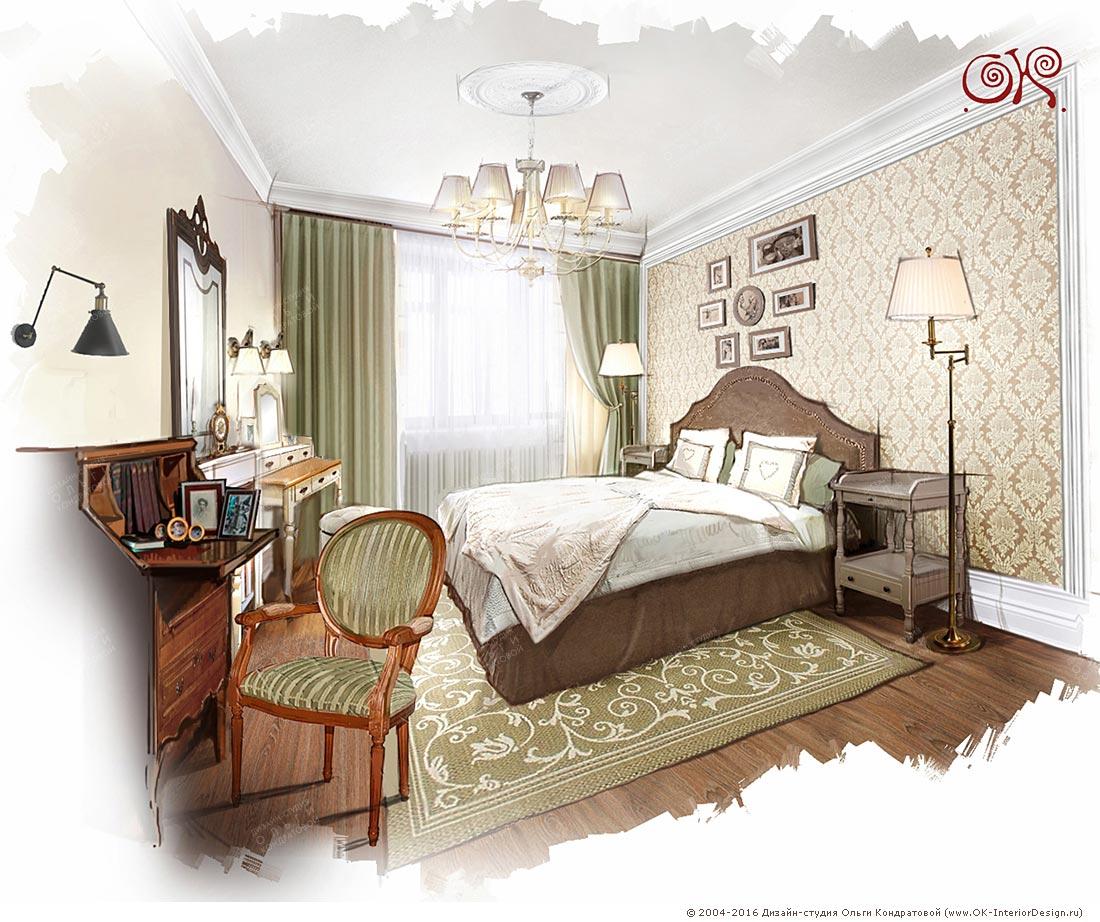 Дизайн спальни с антиквариатом