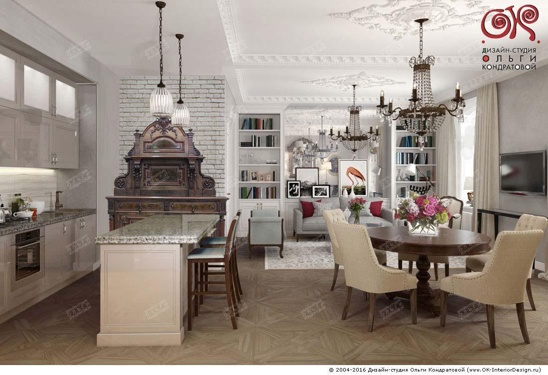 Дизайн большой кухни-гостиной