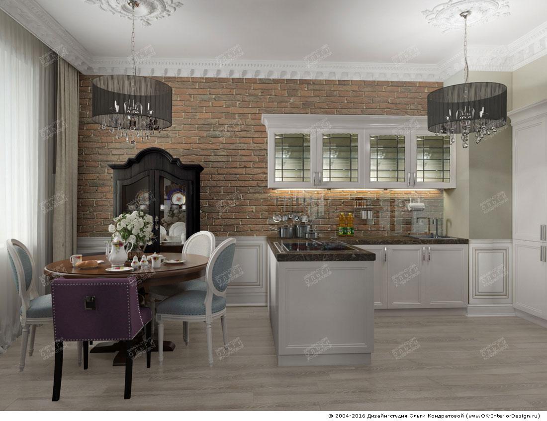 Дизайн большой кухни-столовой