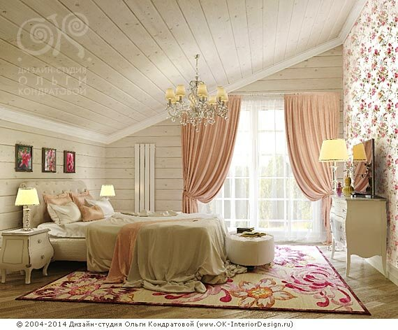 дизайна спальни 15 кв.м обои с активным цветочным принтом