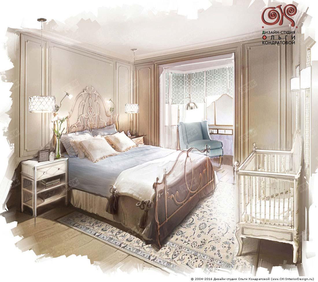 Дизайн спальни с кроваткой
