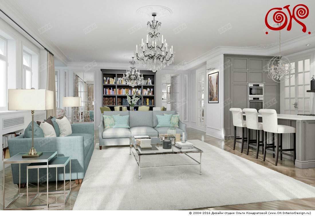 Дизайн гостиной, совмещенной с кухней: фото 2016