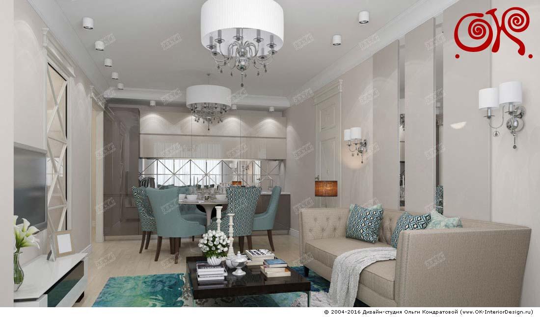 Дизайн бирюзовой гостиной с кухней