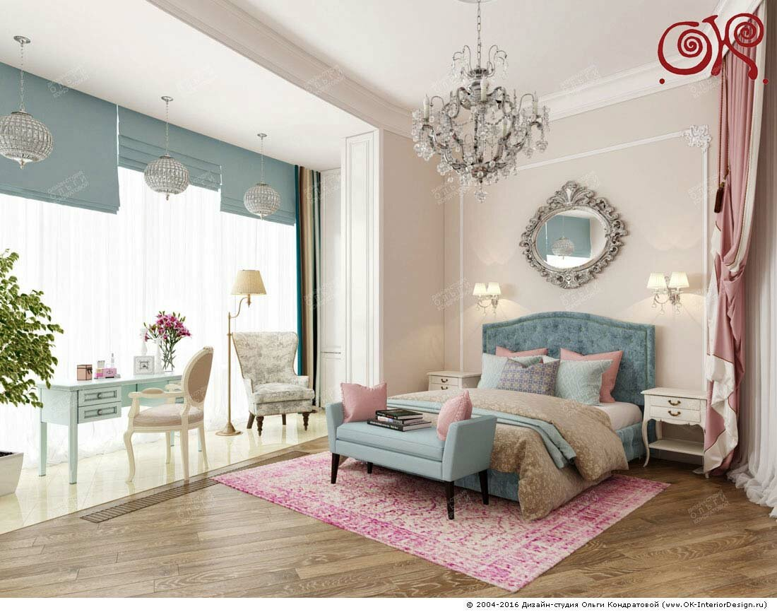 Дизайн спальни с мини-кабинетом: фото 2016
