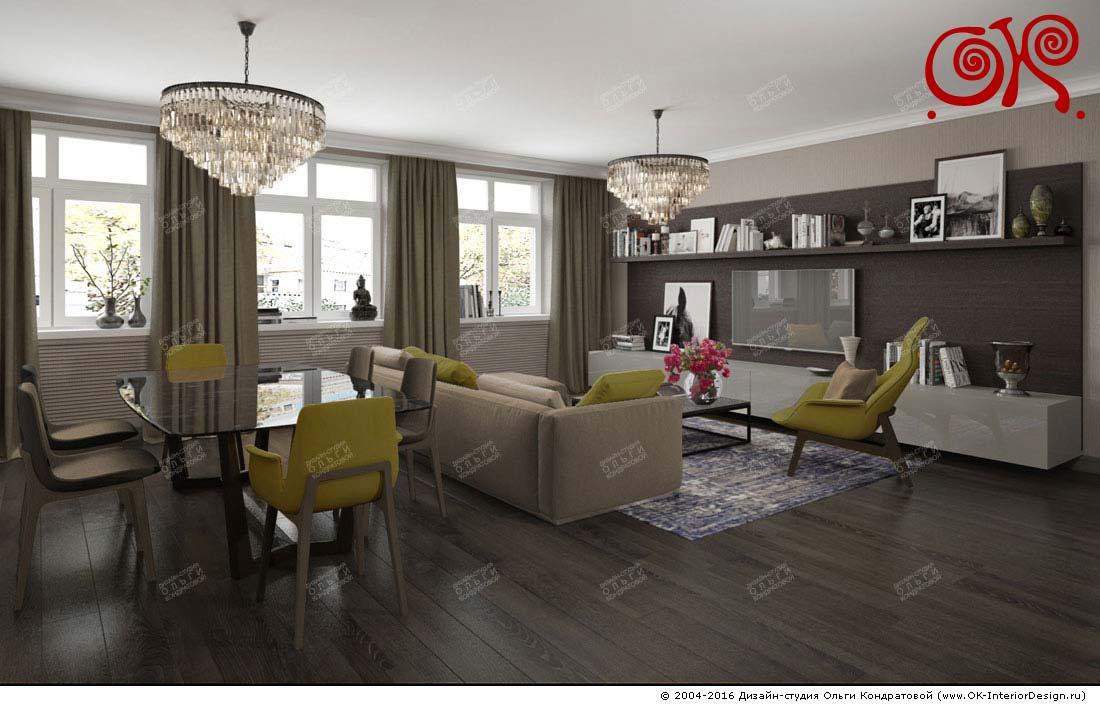 Дизайн гостиной-столовой с горчичными акцентами