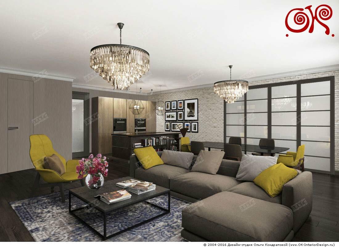 Дизайн большой гостиной-столовой в современном стиле