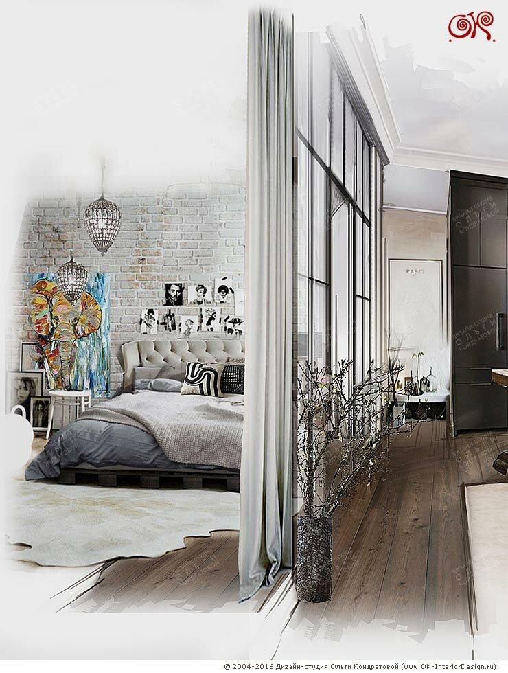 Перегородка между гостиной и спальней в квартире в стиле лофт