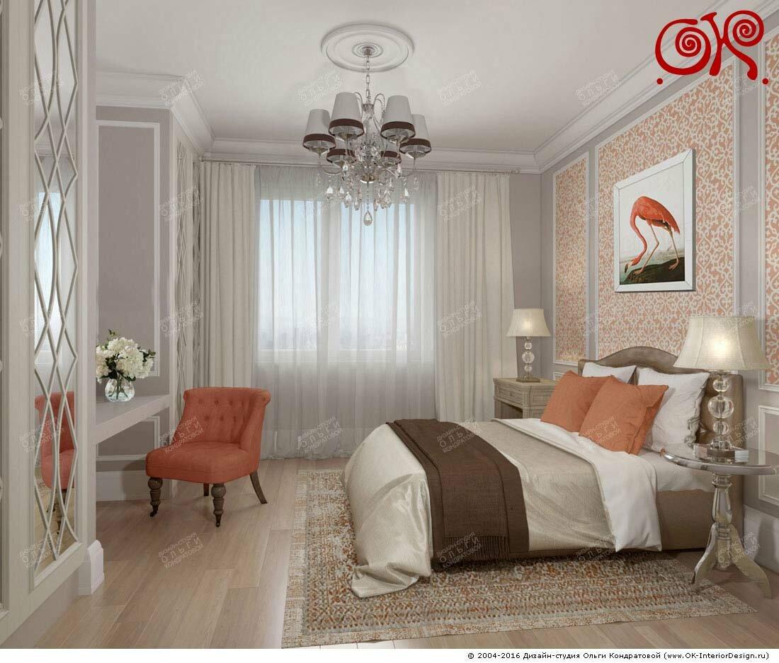 Дизайн спальни с оранжевыми акцентами: фото 2016
