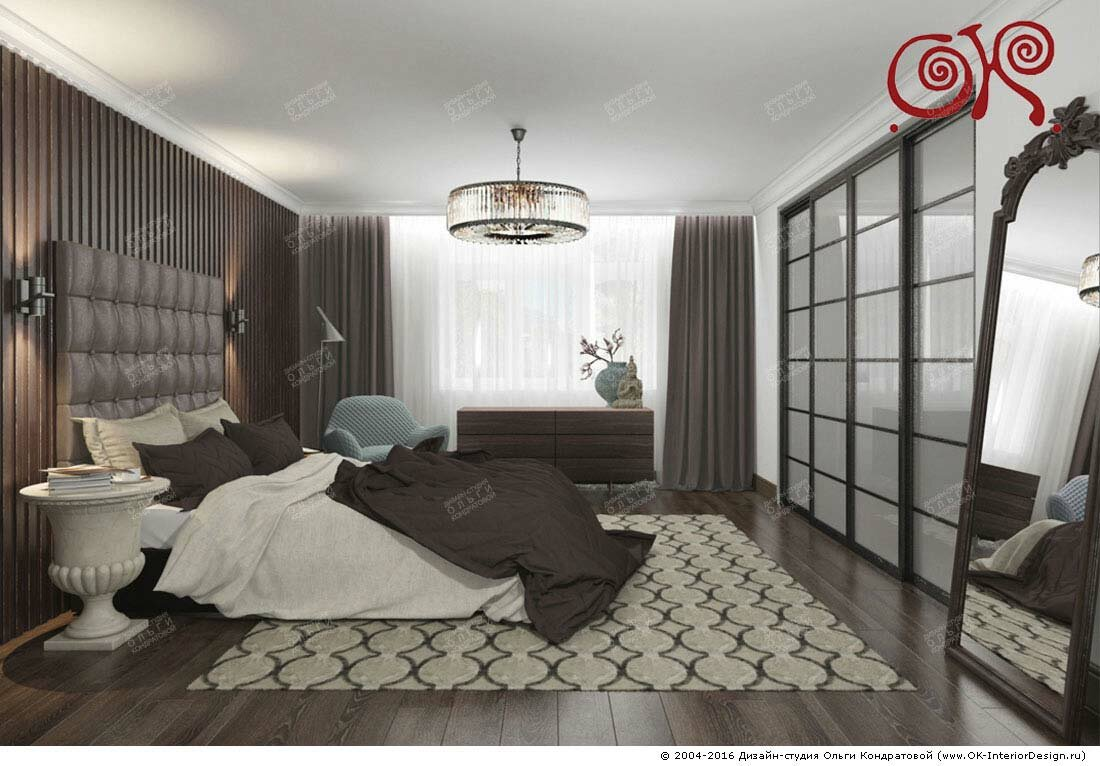 Дизайн шоколадной спальни: фото 2016