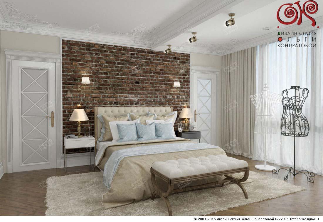 Дизайн спальни с кирпичной кладкой: фото