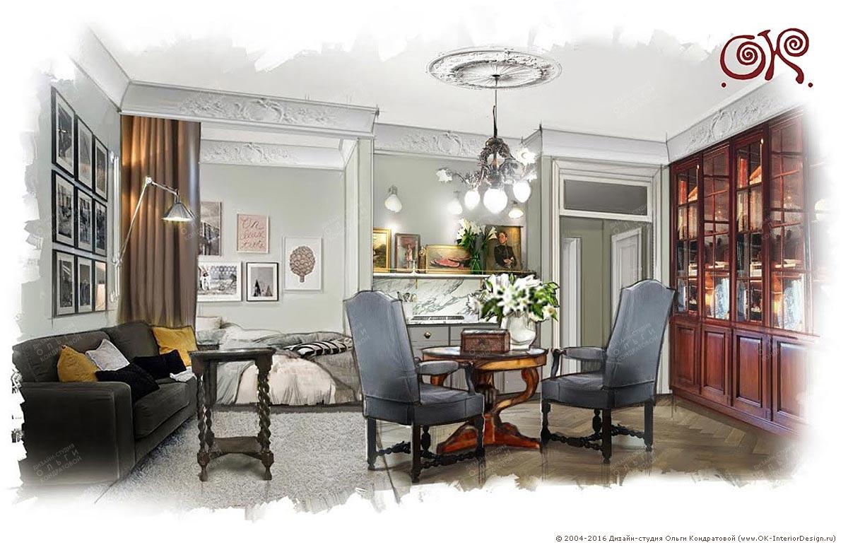 Вариант дизайна гостиной в квартире площадью 22 кв. м