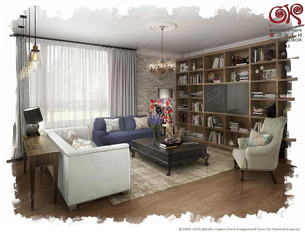Дизайн гостиной комнаты со встроенными стеллажами
