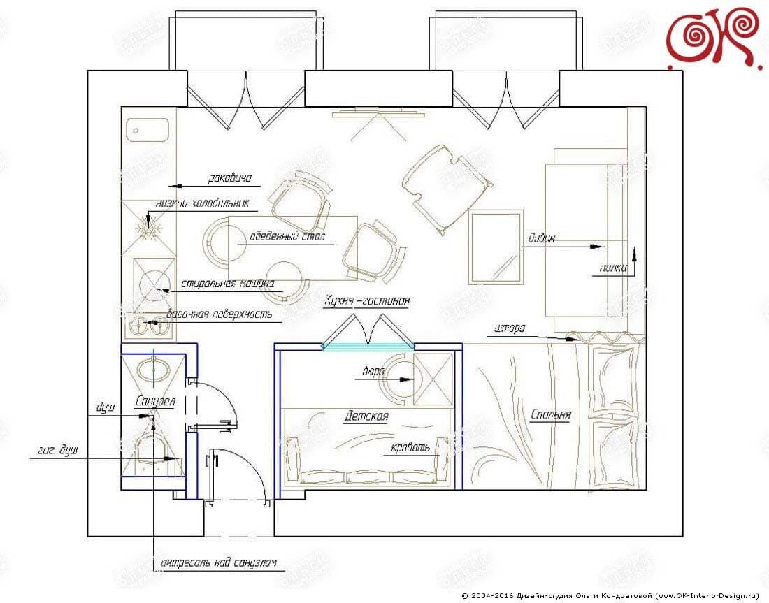 Планировка квартиры 22 кв. м