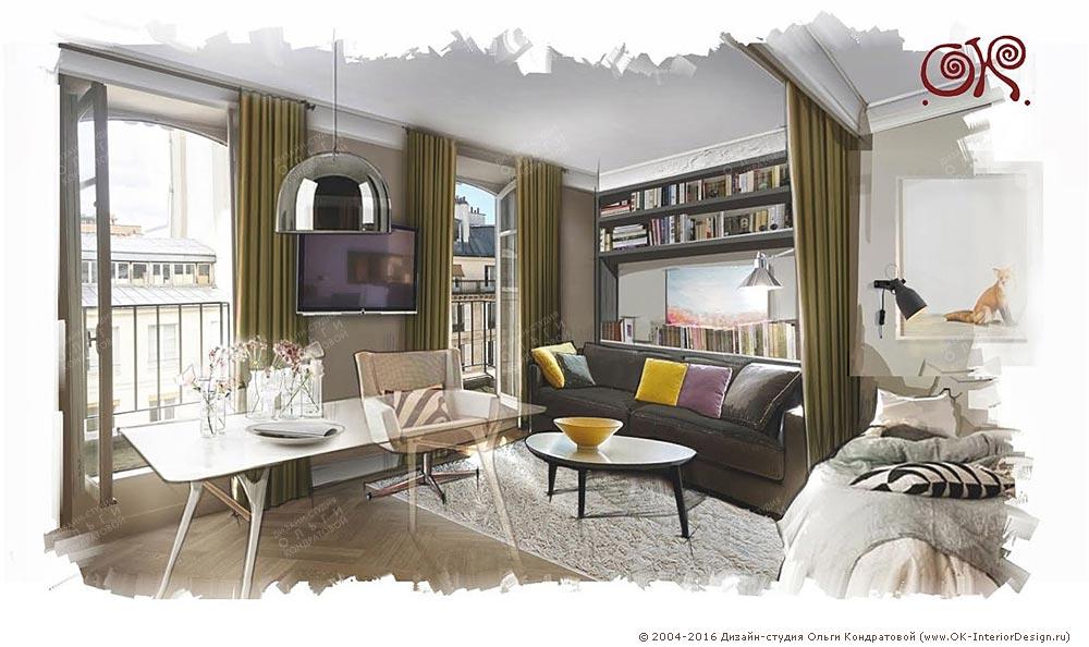 Интерьер малогабаритной квартиры: гостиная