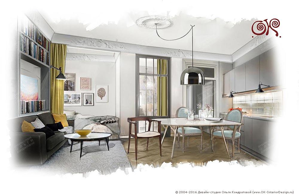 Интерьер малогабаритной квартиры. кухня-гостиная