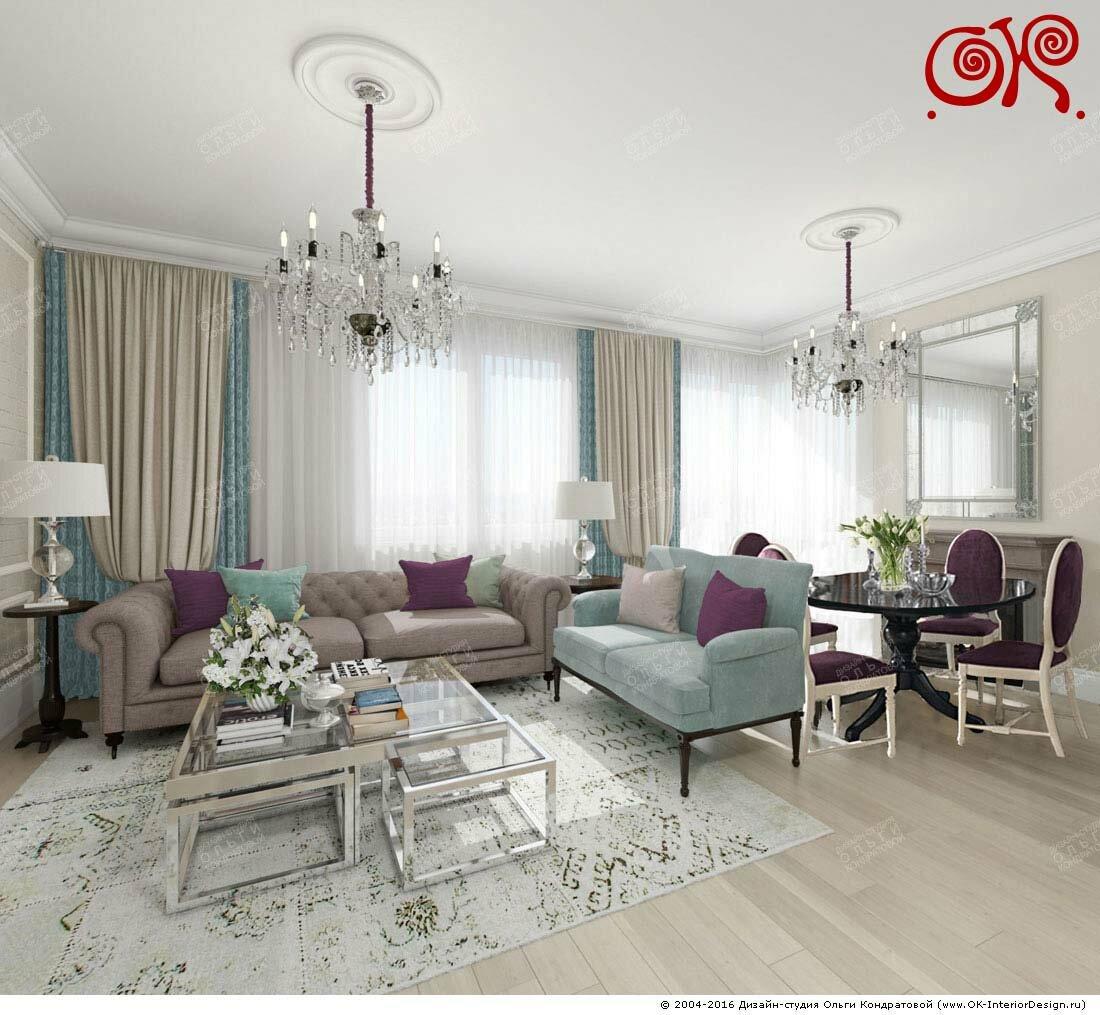 Интерьер гостиной в светлых тонах в классическом стиле