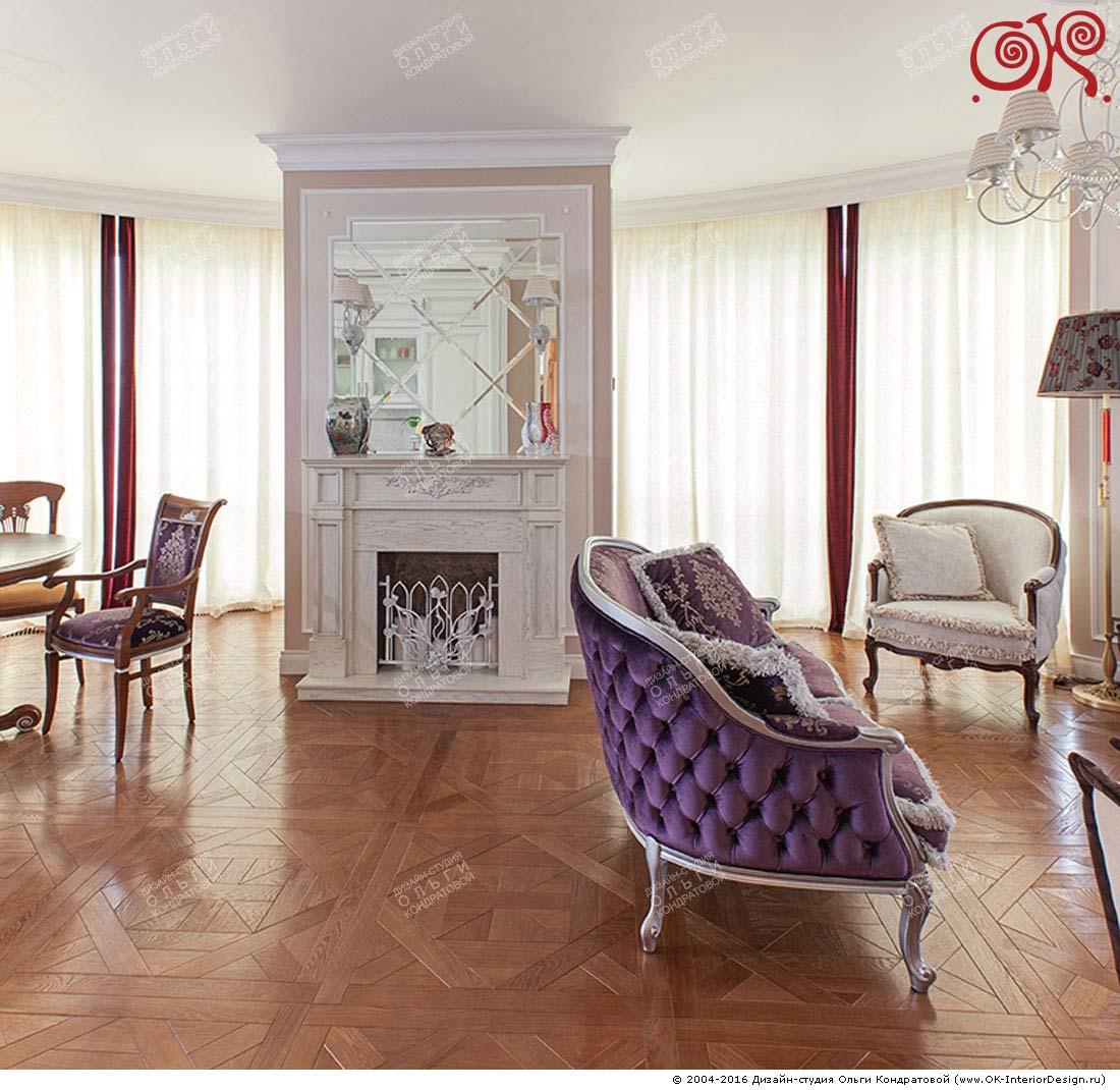 Дизайн гостиной с камином в классическом стиле