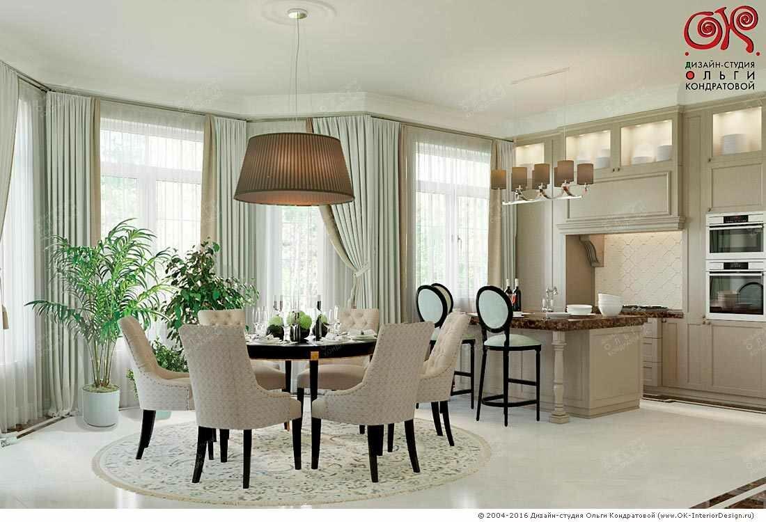 Дизайн кухни-столовой на первом этаже загородного дома