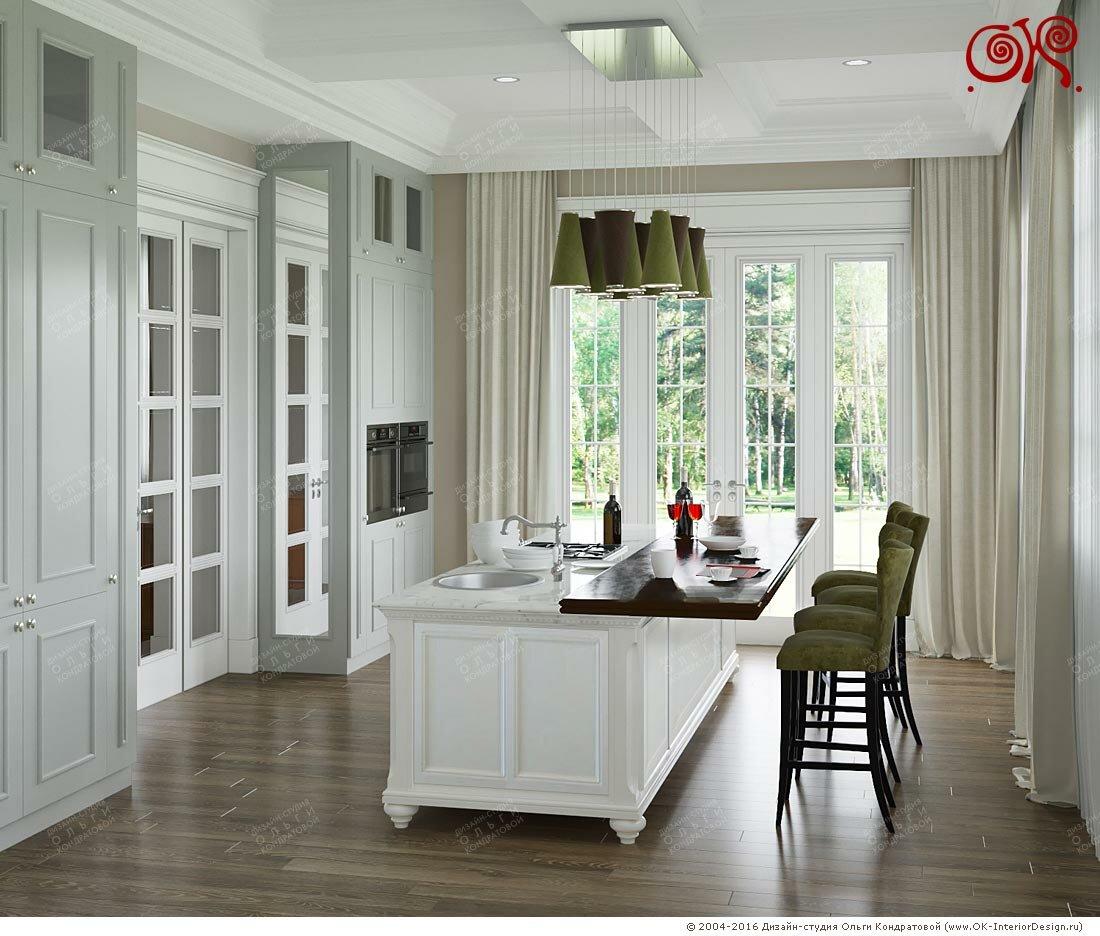 Дизайн первого этажа загородного дома: кухня