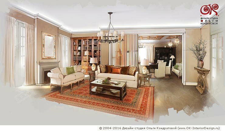 Дизайн гостиной на первом этаже дома
